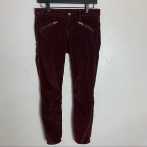 Gap   Maroon Velvet Always Skinny Pants 27R